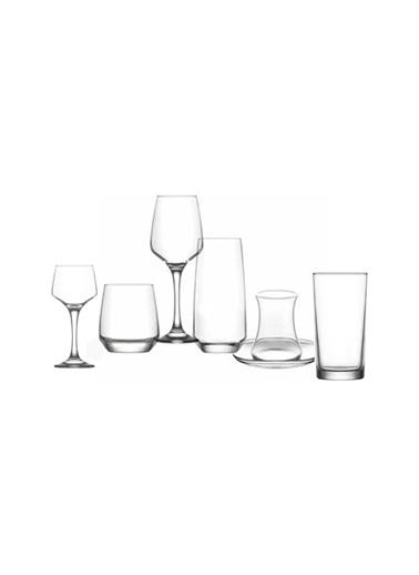 Lav Lal Çeyiz Seti 42 Prç. Su Bardak - Bardağı - Meşrubat Bardağı Renkli